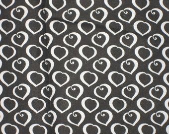 Vintage 60's Mid-Century Cotton Fabric Black with White Hearts 1.4 yds.