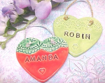 Personalized Name Pottery Small Heart Ornament | Children's Birthday Gift | Choose Color | Unique Pottery Gift Made to Order