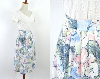 Vintage 1980's Light Blue Pink Floral Linen High Waist Pleated Classic Chic Midi Skirt - A-line  Mori Girl Pleated Skirt - Size Medium