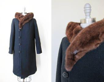 1960s vintage brown mink fur collar long black button down pocket boucle coat jacket m l