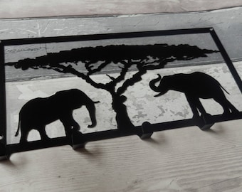 Elephants and Acacia Tree Silhouette Key Hook Rack - safari Africa metal wall art