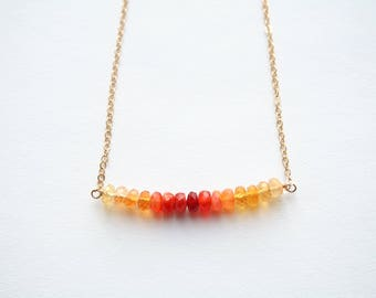 Fire Opal Necklace, Opal Necklace, October Birthstone