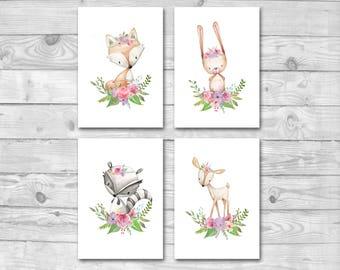 Woodland Nursery Decor Prints Set, Set of 4 Woodland Animal Prints, Woodland Nursery Prints, Boho Woodland, Forest Animals Nursery Wall Art