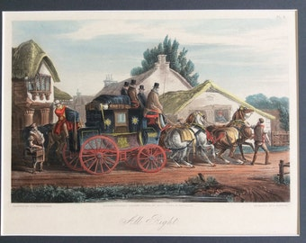 1874 Victorian Handcoloured Engraving, Exeter Royal Mail Coach & Horses