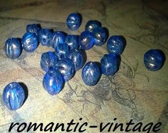 10 beautiful blue glass melon beads tints reflections 5mm