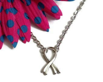 Simple Elegant Awareness Ribbon Pendant Necklace - Cancer Cure Hope Inspirational