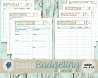 Budget Planner Mini-Kit: Budgeting Planner Worksheets for your Budget Binder/Organizer,  Instant Download!