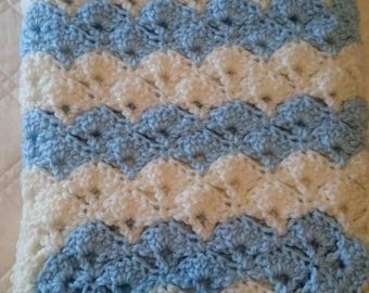 Blue and Soft White  Shells Baby Afghan