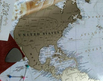 """Large Push pin Travel Map - Scratch Off World Map Wall Poster with Push Pins 34.6""""х25.2"""""""