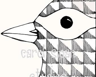Illustrated Bird Drawing Thermofax Screen