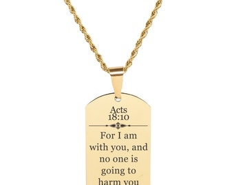 Acts 18:10 Tag Necklace - SSDOGTAG-ACTS18.10-RGD - Gold