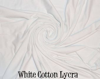 White Solid Cotton Lycra Spandex Fabric - White Stretchy Knit Fabric - Apparel Cotton Lycra by the yard - White Knit Fabric - The Fabric Zoo