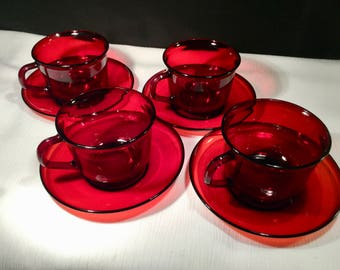 """Arcoroc """"Classique"""" Ruby Red Tempered Glass Cup and Saucer Set of 4.  Elegant Simple  Made in France  Discontinued"""