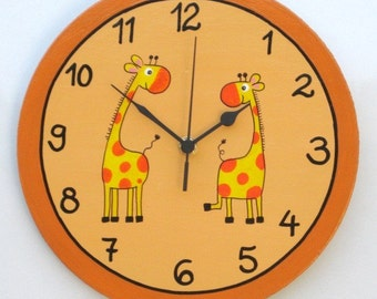 Orange Peach Wooden Wall Clock With Giraffes Painting