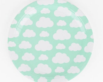 Cloud Party Paper Plates - Pack Of 8 - Birthday Party Baby Shower