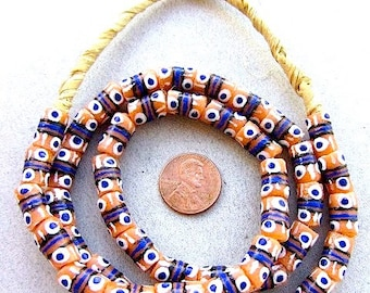10 pieces Tribal Trade Beads, African Krobo Painted Beads, Orange and Blue
