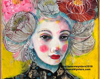 Dream A New Dream- Original mixed media  painting by Maria Pace-Wynters