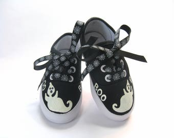 Ghost Shoes, Halloween Party or Ghost Costume, Glow in the Dark, Hand Painted Black Sneakers for Baby and Toddler