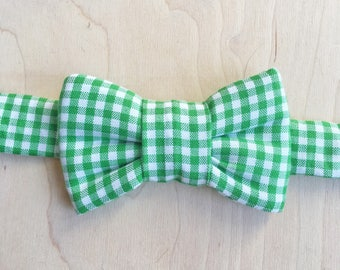 Green Plaid Bow Tie for Cats - Bow Tie Cat Collar