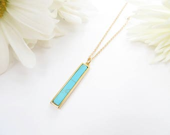 Turquoise Bar Necklace, Delicate Turquoise Necklace, Vertical Bar Necklace, Layering Necklace