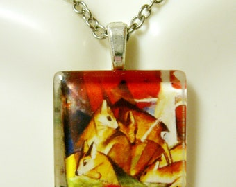 Deer in the woods by Franz Marc pendant and chain - WGP01-028