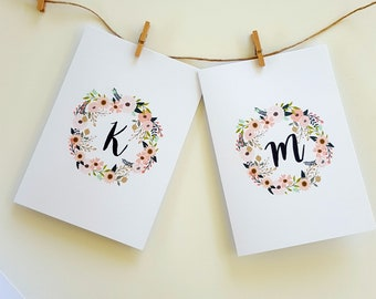 Monogrammed Note Cards   Floral Wreath Stationery Note Card Set   Gift for Her   Mothers Day Gift Idea   Gift for Mum