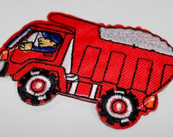 1 X embroidered patch - work construction dump truck - stick or sew - child