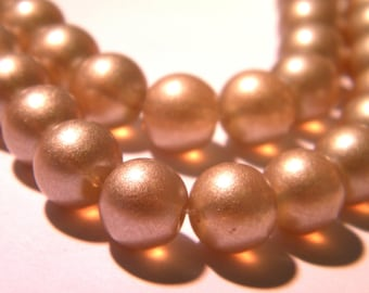 20 beads - translucent glass beads - 10 mm glass Pearl 10 mm - camel pale - G152-5