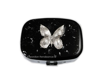 Oval Pill Box Silver Art Nouveau Butterfly Inlaid in Hand Painted Black Enamel with Silver Splash Design Personalized Options Available