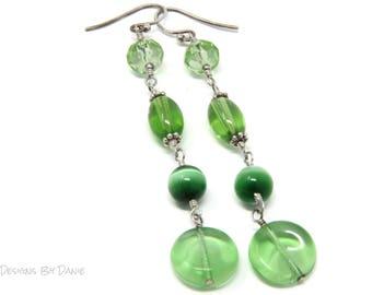 Simple Green Earrings, Long Green Earrings, Vintage Green Earrings
