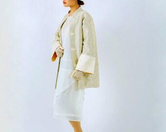 Oriental inspired 1920s jacket in cream, Miss Fisher jacket, flapper jacket, Great Gatsby jacket, Downton Abbey jacket, art deco jacket