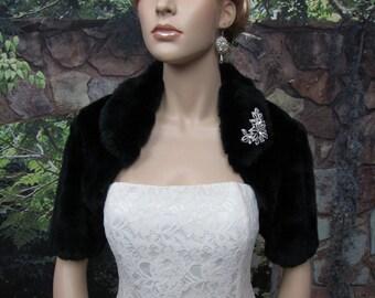 Black faux fur bolero faux fur shrug FB004-Black