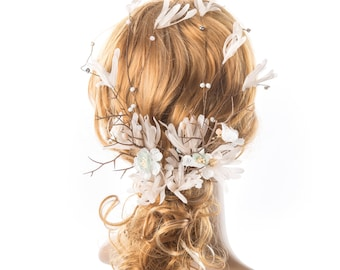 Bridal Hair Vine Wedding Headband Long Hair Vine Wedding Hair Accessories Hairpiece with Beaded Wreath Pearl