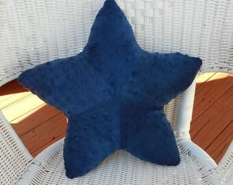 Starfish pillow, navy blue starfish, minky dot navy starfish, nautical baby pillow, nautical pillow, coastal living, nautical decor
