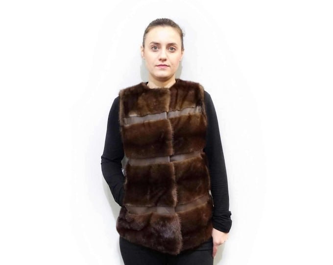 Fur Waistcoat,Real Fur Mink with Leather Stripes F527