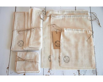 Pack discovered zero waste cotton organic loose bags + dry + any wipes