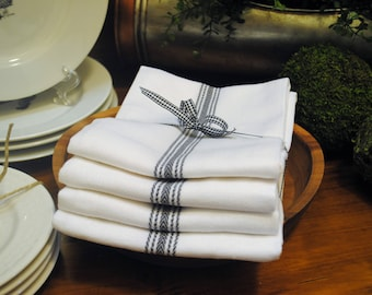 Farmhouse Vintage Hand Towels by Cotton Craft - Charcoal & White