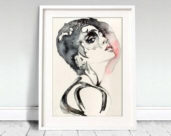 Woman. Blue-eyed girl. Beautiful girl print. Gulls.  Woman watercolor art print. Wall art, wall decor, digital print.