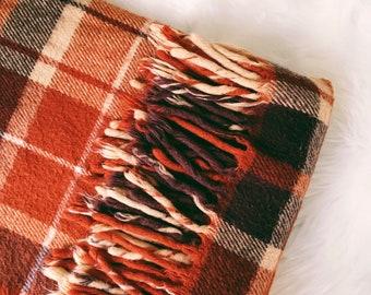 Orange/Brown Plaid Throw Blanket, Faribo Fluff Loomed, Camp Blanket, Made in Minnesota