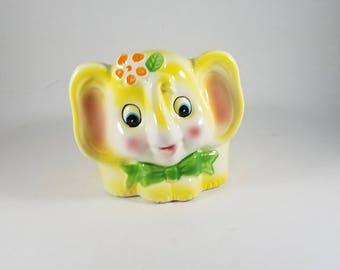 Vintage Elephant Planter | Circus Animal Nursery Decor | Inarco Kitsch Planter Elephant Baby Shower  | Yellow Ceramic Elephant Figurine