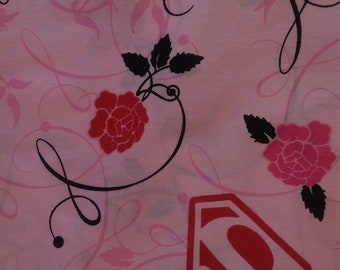 Fabric by the Yard SuperGirl pink red black flowers 100% cotton soft craft sewing project quilting floral DC comics 44 width