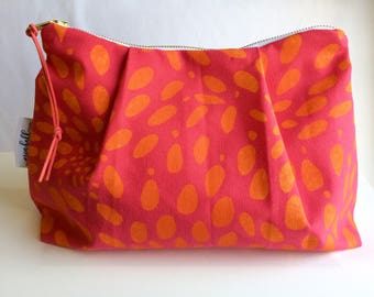 Zippered Pouch, Cosmetic Bag, Stardust, Magenta-Pink & Yellow, Make-Up Bag, Catch-all, Pouch, Small Bag