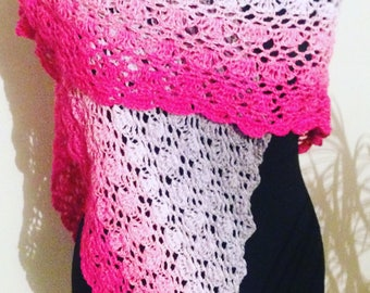 scarf/shawl for summer and spring, or shawl in cotton, crocheted in a modern pattern, fashion summer cotton shawl