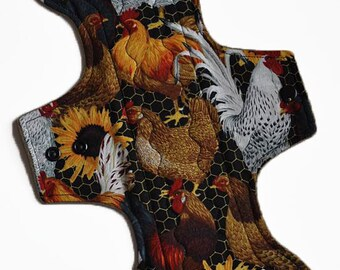 Heavy Core- Hens and Sunflowers Reusable Cloth Goddess L Pad- 14.5 Inches