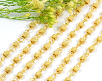 Rosary Chain, 3.5 to 4mm, Matte Gold, Faceted Bead, Brushed Gold Chain, Tarnish Resist Matte Gold Chain, RETAIL - 2.5 FT+/ order