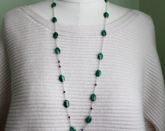 Malachite Necklace - Malachite Jewelry - Sterling Silver- Long Boho Necklace - Beaded Necklace- Silver Lily  Jewelry