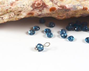 Small London Blue Topaz charm 5.5mm Sterling Silver interchangeable gemstone dangle, November birthstone charm, birthstone jewelry,