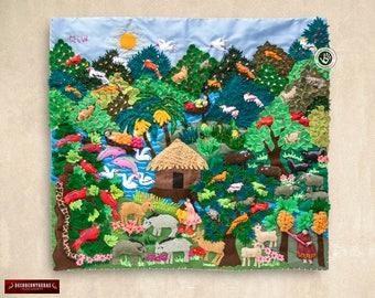 "Arpillera quilt Jungle Design 17.7x19.7""- Wall Hanging Quilt- 3D Peruvian Rainforest- Embroidered appliques of fabric- Peru textiles"