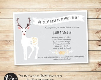 Oh Deer Baby Shower Printable Invitation & Enclosure // grey, yellow, gender neutral, Oh Baby, invite, baby animal // Hewitt Avenue