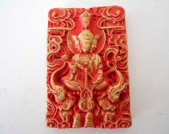 Cinnabar Chinoiserie Deity Pendant #12